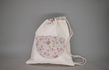 Μπομπονιέρα σακίδιο πλάτης με floral λεπτομέρειες