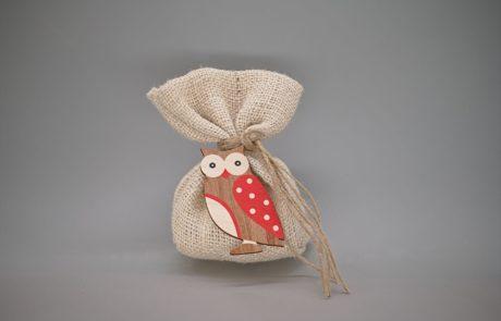 Μπομπονιέρα πουγκί λινό με κουκουβάγια